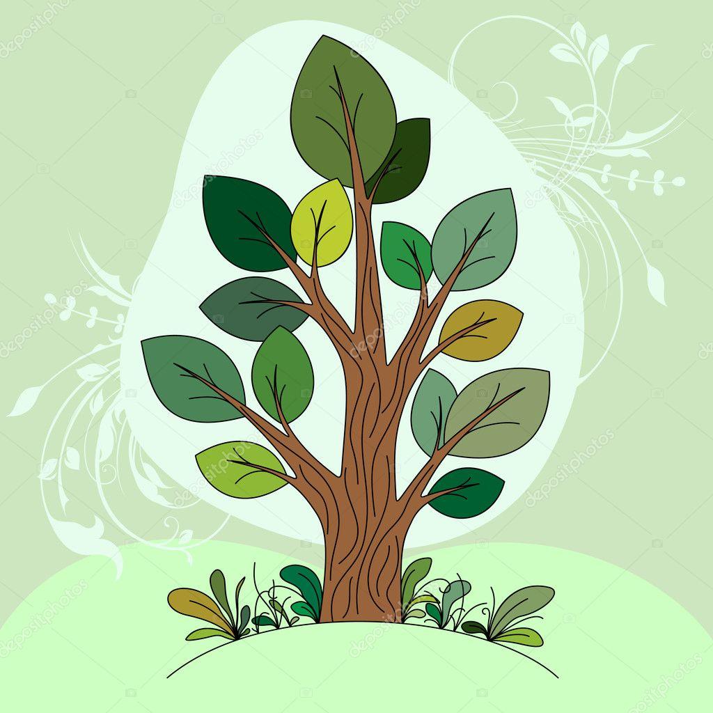 Рука нарисованные дерево цвет