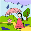 Girl and flower under umbrella — Stock Vector