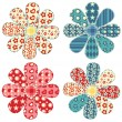 Set of four quilt flower — Stock Vector