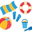 Patchwork beach set. — Stock Vector