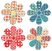 Set of four quilt flower — 图库矢量图片