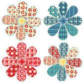 Set of four quilt flower — Stock Vector