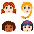 Set of girls faces 3 — Stock Vector