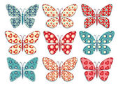 Set of patchwork butterflys 1. — Vecteur
