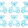 Set of blue applique bear. — Stock Vector #8063680
