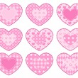 Set of applique hearts. — Stock Vector