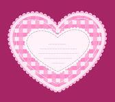 Card with applique heart. — Stock Vector