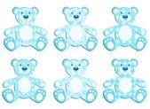 Set of blue applique bear. — Stock Vector