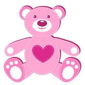 Pink applique bear. — Stock Vector