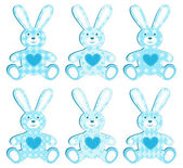 Set of blue applique hare. — Stock Vector
