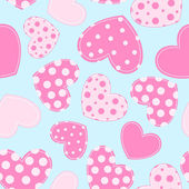 Naadloze patroon met stoffen hart. — Stockvector