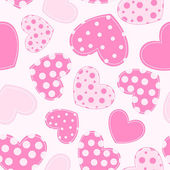 Seamless pattern with applique hearts. — Stock Vector