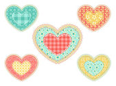 Set of patchwork hearts. — Stock Vector