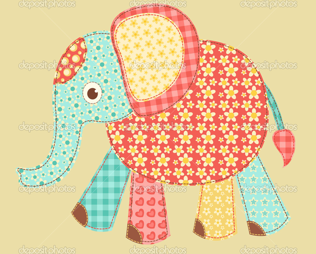 Children's application. Elephant. Patchwork series. Vector illustration. — Stock Vector #8293702
