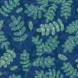 Blue and green leaves seamless pattern. — Stock Vector