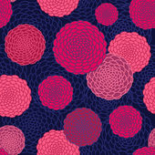 Round flowers seamless pattern. — Stock Vector