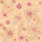 Pink floral seamless. — Stock Vector
