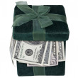 Green Gift Box Full of Money — Stock Photo #7994034