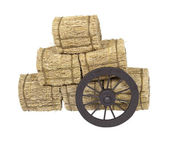 Stagecoach Wheel Leaning on Bales of Hay — Stock Photo