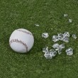 Baseball and Broken Glass on Grass - Stock Photo