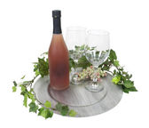 Butelka wina i okulary na srebrny ładowarka — Zdjęcie stockowe