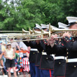 The USMC Marine Forces Reserve Band Performers Playing Trombones in a Parad — Stock Photo