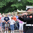 The USMC Marine Forces Reserve Band Performers Playing Trombones in a Parad - Stock Photo