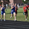 Teen Girls Competing in Long Distance High School Track Meet Race — Stock Photo