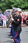 The USMC Marine Forces Reserve Band Performers Playing Clarinets in a Parad — Stock Photo