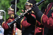 Dover-Eyota High School Marching Band Performer Playing Clarinet in Parade — Stock Photo