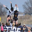A Lineout in a Women's College Rugby Match - ストック写真