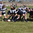 A Scrum in a Women's College Rugby Match - Lizenzfreies Foto
