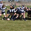 A Scrum in a Women's College Rugby Match - ストック写真