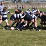 A Scrum in a Women's College Rugby Match — Stock Photo