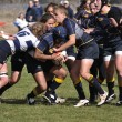 Player Being Tackled in a Women's College Rugby Match — Stock Photo
