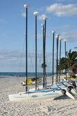 Hobie Cat Sailboats on a Tropical Beach — Stock Photo
