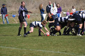 A Scrum in a Women's College Rugby Match — Fotografia Stock