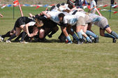 A Scrum in a Women's College Rugby Match — Stock Photo