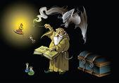 Wizard dagvaarding demon — Stockvector