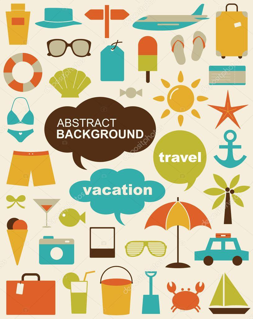 矢量图设计元素相关旅游和度假