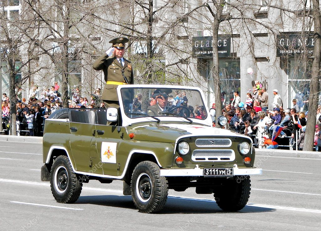 Russian command car UAZ 469 takes part at the annual Victory Parade on May 9, 2011 in Chelyabinsk, Russia.  Stock Photo #10316819