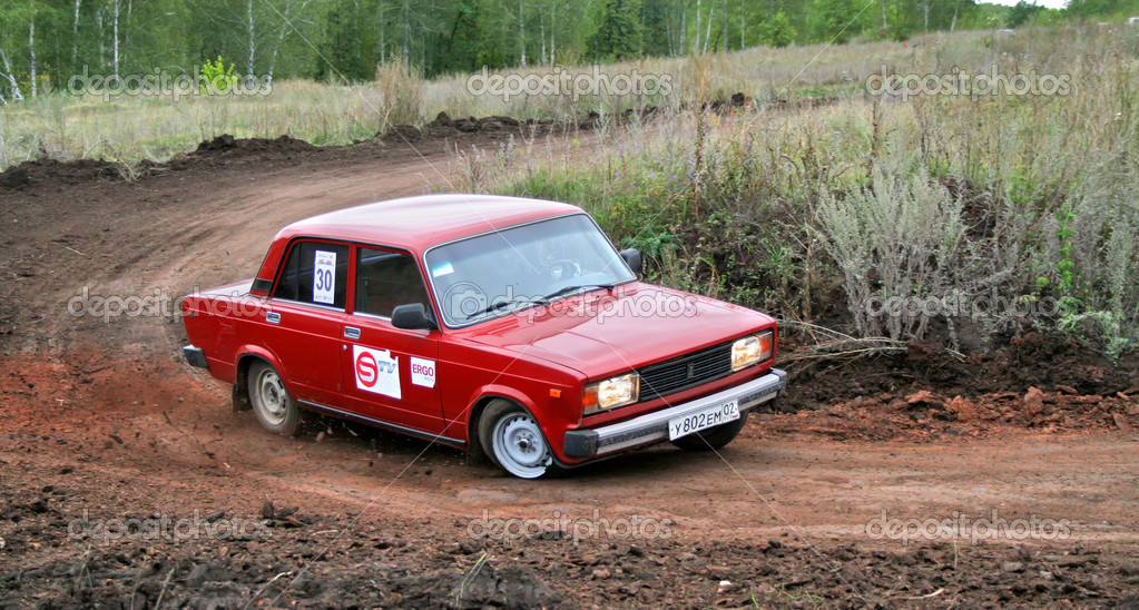 Russian motor car LADA Zhiguli competes at the annual Motor show Autumn Drive on September 20, 2008 in Alkino, Bashkortostan, Russia.  Stock Photo #9913291