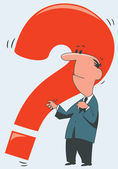 Man with a red question — Stock Vector