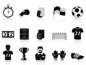 Black football icons set — Stock Vector