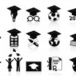 Black Graduation icons set — Stock Vector #10356816