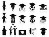 Conjunto de iconos de graduación negro — Vector de stock