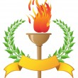 Flame torch with banner - Vettoriali Stock 