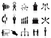 Black management icons set — Stock Vector