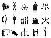 Black management icons set — Stock Vector