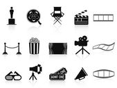 Black movies icons set — 图库矢量图片